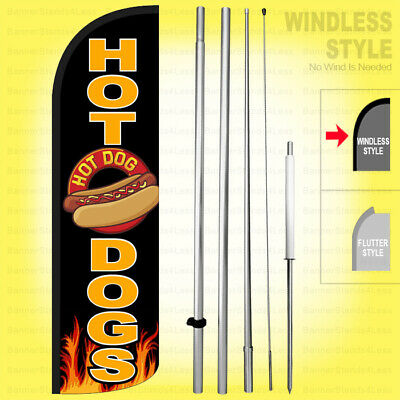 Hot Dogs - Windless Swooper Flag Kit 15 Feather Banner Sign Kq-h