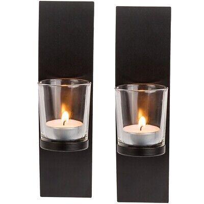 2x Schwarzer Wand-Metallhalter mit Glas Kerzenhalter für Teelicht ca. 21 x 8 cm