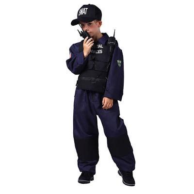 SWAT Polizei Kostüm für Kinder mit Weste Anzug Mütze Handy in vielen Größen