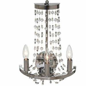 NEW Chrome Three-Light Wall Sconce with Clear, Smoke & Amber
