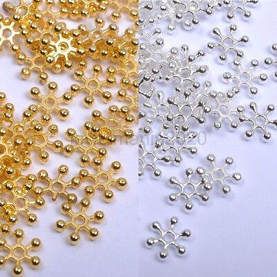200Pcs Silver & Golden FLOWER DAISY Spacer BEADS - Choose 6MM,8MM,10MM 200 Pcs Flower Glass