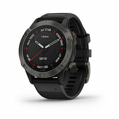 Garmin Fenix 6 Sapphire, Premium Multisport GPS Watch, Carbon Gray DLC/Black