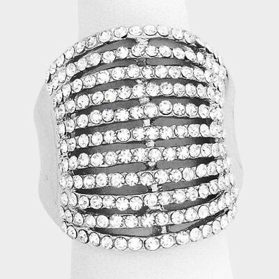 Cocktail Ring Silver Multi Row Rhinestone Pave Crystals Wide Stretch (Crystal Evening Cocktail Ring)