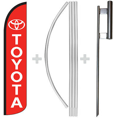 Toyota 15 Tall Windless Swooper Feather Banner Flag Pole Kit