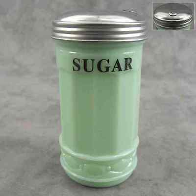 JADEITE GREEN GLASS SUGAR SHAKER with FLIP SPOUT DISPENSER ~ DINER STYLE ~ Green Sugar Shaker