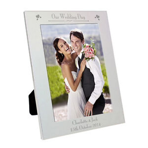 Personalised Decorative Silver Photo Frame Wedding Day Picture Frames 5x7