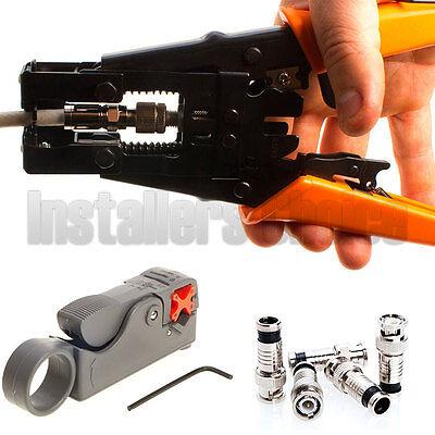 Compression Connector Coax Adjustable Tool Crimper RG59 Kit (Compression Coax Kit)
