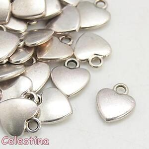 25 Antique Silver Heart Charms 12mm x 10mm Pendants - Love Hearts Valentines NF