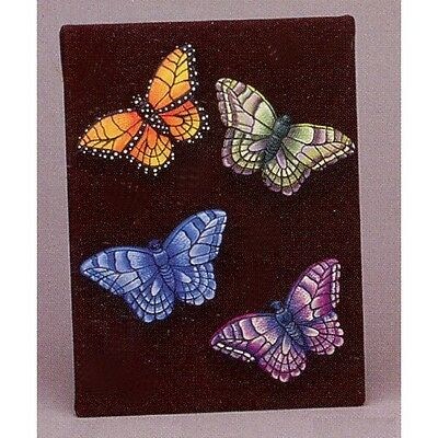 4 BUTTERFLIES MAGNETS CERAMIC BISQUE    Ready-U-Paint