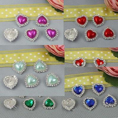 Button Shape Pearl - 10X Heart Shape Rhinestone Pearl Silver Shank Charming Heart Button Sewing Craft