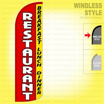 Restaurant Breakfast Lunch Dinner Windless Swooper Flag 3x11.5 Feather Sign Rq