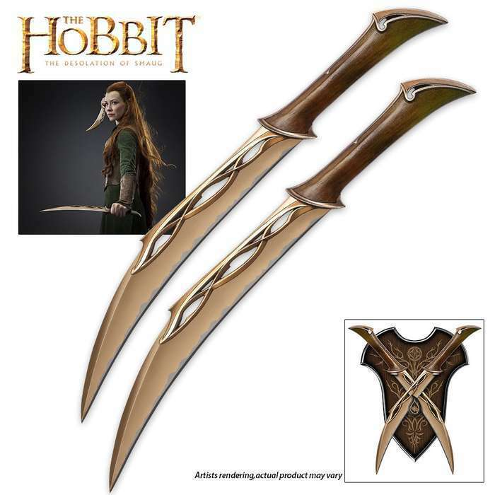 2pc Lord of the Rings OFFICIALLY LICENSED Fighting Knives of Tauriel Elven Sword