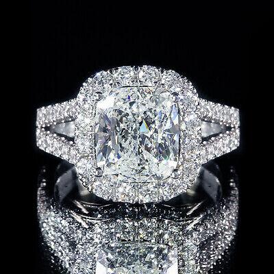 3.65ct Cushion Split Shank Pave Diamond Halo Engagement Ring F/VS2 GIA Certified