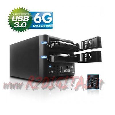 BOX FANTEC 6G DOS DISCO DURO EXTERNO USB 3 RAID 0 1 SATA PROTECCIÓN DATOS HDD segunda mano  Embacar hacia Argentina