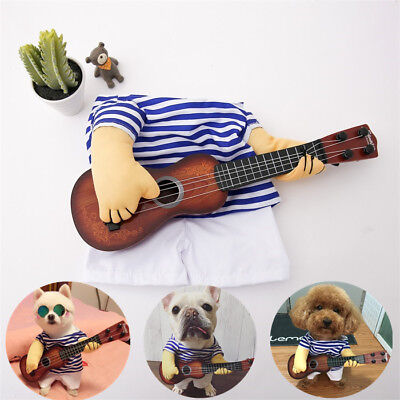 Small Large Pet Dog Halloween Costumes Guitar Player Coat Clothes Party - Dog Cosplay Costumes