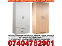 ASSEMBLED 2 DOOR WARDROB WITH SHELF AND HANGING RAIL, DRAWERS/MIRROR BRAND NEW