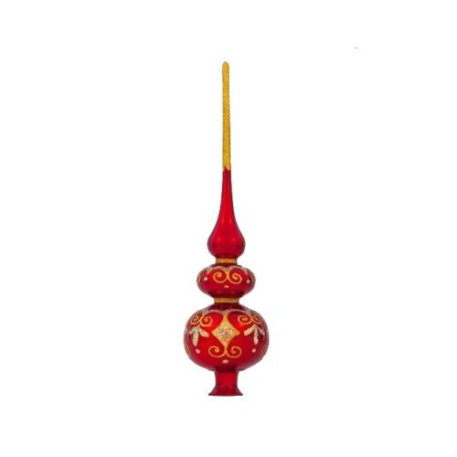 Christmas Tree Topper Blown Glass Finial Xmas European Vintage Spire Classic Red