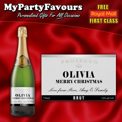 2 x Personalised Prosecco/Champagne Bottle Labels (Silver) - Christmas - Champagne Bottle Labels