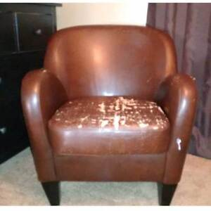 ARMCHAIR. Bonded leather. Needs apholstery