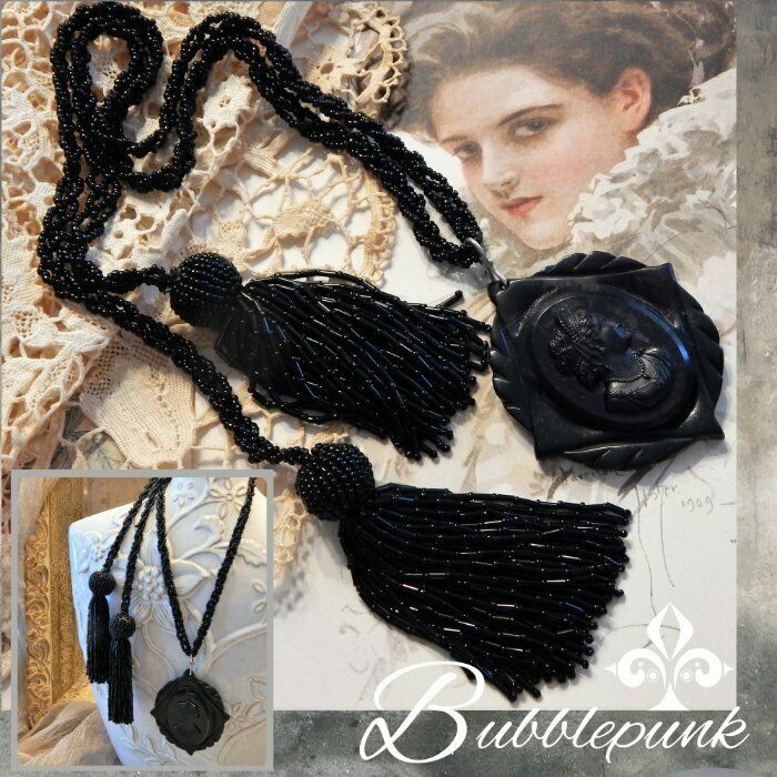 Antique Victorian Black Mourning Cameo Tassel Seed Bead Lariat Necklace
