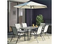 Cream Garden Table & Chairs Patio Set with 6 Chairs & Parasol