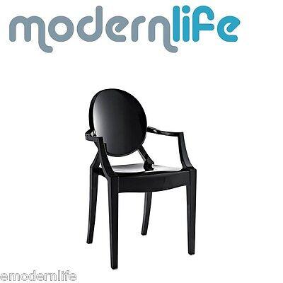 modern louis ghost dining arm chair philipe starck design : black - Louis Ghost Arm Chair