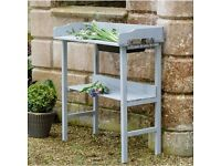 wooden potting table in sage or grey
