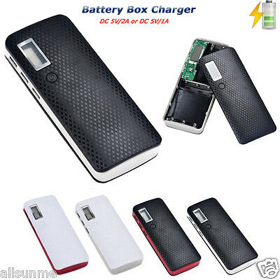 Portable 5V 2A 18650 Power Bank Battery Box Charger For Smartphone iPhone Huawei ()