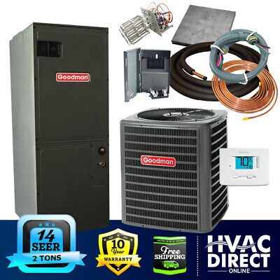 2 Ton 14 SEER Goodman Heat Pump System   Complete Install Kit, Free Accessories Goodman Heat Pump Systems