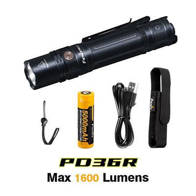 Fenix PD36R USB-C Rechargeable 1600lms Tactical Flashlight Torch+5000mAh Battery