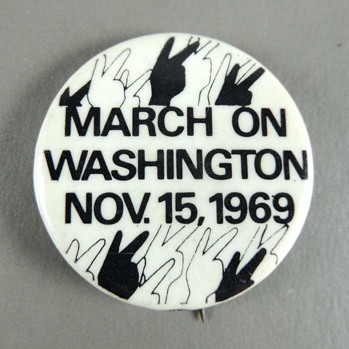 March on Washington Vintage1969 Anti-Vietnam War Protest Cause Pinback Button