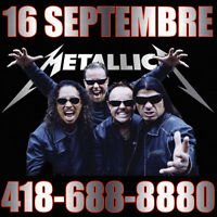 BILLETS METALLICA CENTRE VIDEOTRON QUEBEC 16 SEPTEMBRE