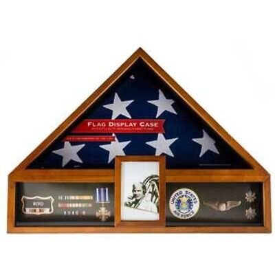 American Flag Display Oak Case Military Memorial Shadow Box Veteran Exhibit New](Flag Display Box)