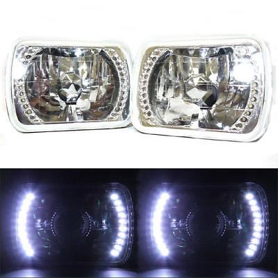 7x6 Glass Clear Diamond LED Headlights 86-95 Wrangler XJ 84-01 Cherokee S10 GMC