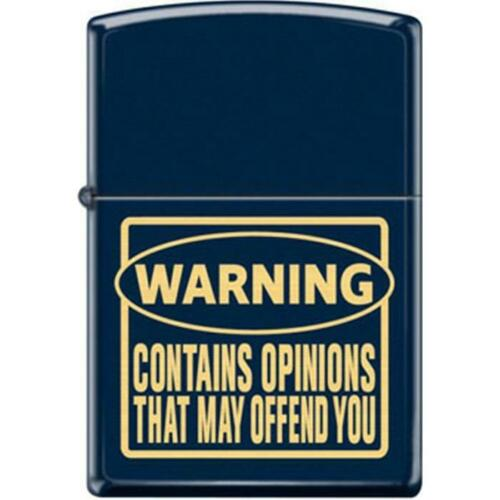 Zippo Lighter - Warning Contain Opinions Blue Matte - 854746