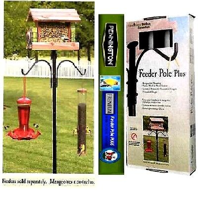 Bird Feeder Pole Station Pennington Cedar Works Removable Hangers Bird House New