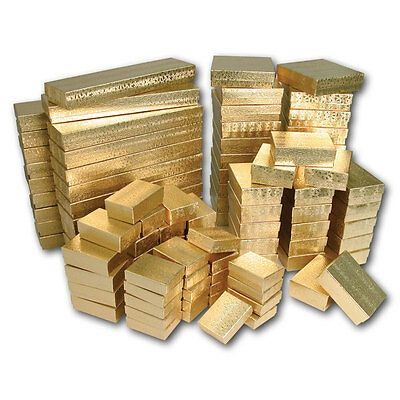 New 100 Asst Gold Cotton Filled Jewelry Gift Boxes