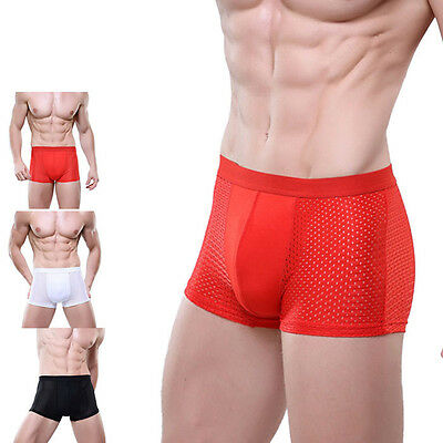 Mens Simple Solid Color Underwear Sexy Mesh Boxer Briefs Breathable Underpants