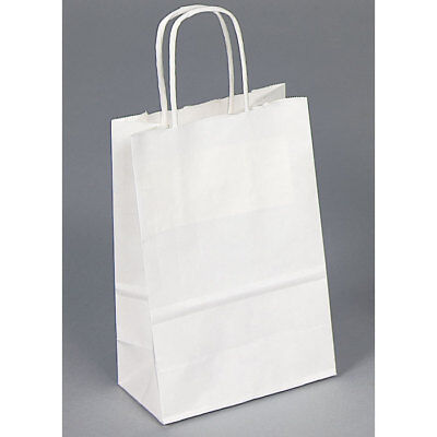 LOT OF 20 WHITE KRAFT SHOPPING BAGS STORE BAGS RETAIL BAGS DEAL! <<CLEARANCE>> - Wedding Supply Store
