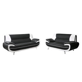 3+2 Sofa Set Suite Modern Faux Leather Black
