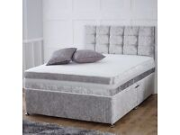 CRUSHED VELVET DIVAN BED AND MATTRESS, DIVAN BASE MATTRESS AND HEADBOARD