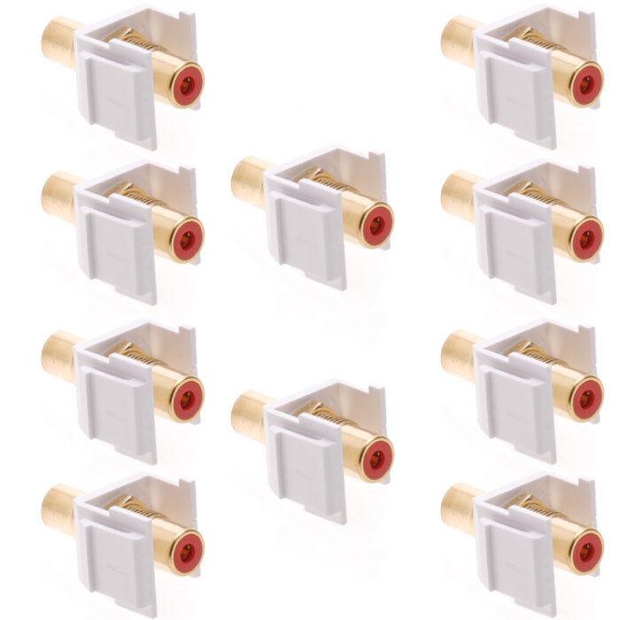 10 pcs Audio Keystone Jack Modular RCA White Center Red