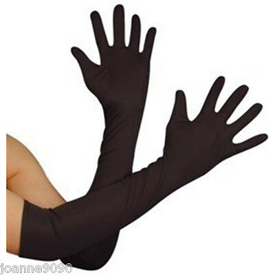 Long Black Opera Gothic Gloves Womens Elbow Evening 1920s 20s Ladies Fancy Dress