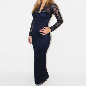 Sexy Womens Long Sleeve V Neck Lace Club Evening Cocktail Party Long Maxi Dress