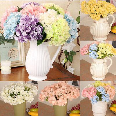 Artificial Hydrangea Bouquet Silk Flowers Leaf Wedding Bridal Party Home - Leaf Decor