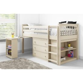 Windermere Mid Sleeper in Cream with Pull Out Desk