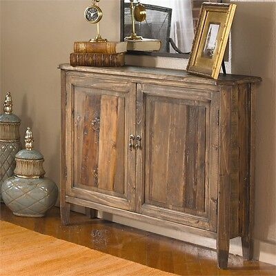 (TUSCAN RECLAIMED RECYCLED SALVAGED WOOD ALTAIR CONSOLE CHEST CABINET NARROW)