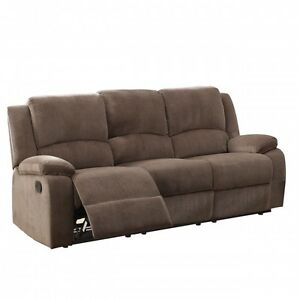 Brown Microfibre Reclining Living Room Sofa