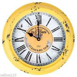 Yellow Round Old Town Metal Wall Clock Rustic clock decor. Home/Cabin/Farmhouse.