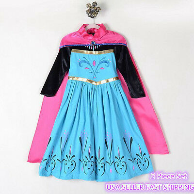 2018 Frozen Queen Elsa & Princess Anna Costume Cosplay Party Gown Dress Up K19
